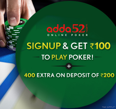 400 extra bonus to play poker @ adda52.com